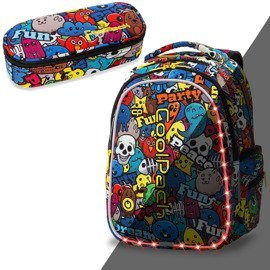 Set Coolpack LED Cartoon - Joy M backpack and Campus pencil case