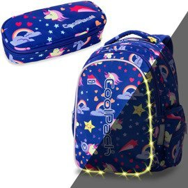 Set Coolpack LED Unicorns - Joy M backpack and Campus pencil case