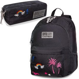 Set Coolpack Sparkling Badges Black - Hippie backpack and Hippie Edge pencil case