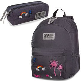 Set Coolpack Sparkling Badges Grey - Hippie backpack and Hippie Edge pencil case