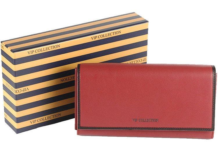 9b43b816d1600 Portfel skórzany damski poziomy duży VIP Collection czerwony ...