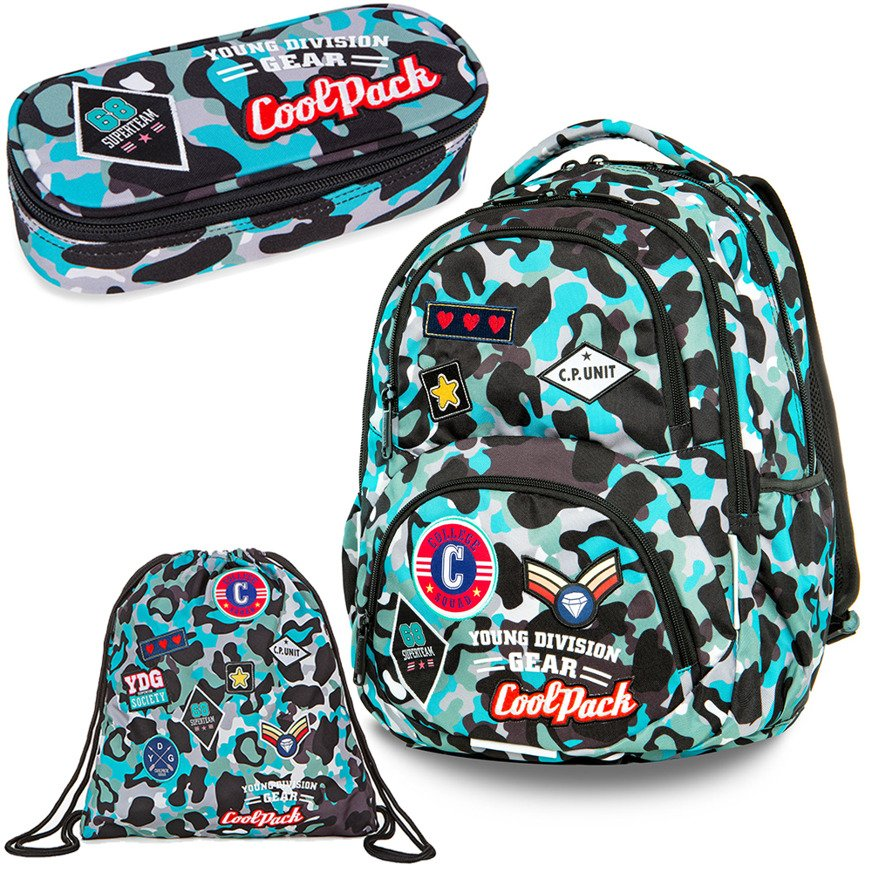Set Coolpack Camo Blue Badges - Dart backpack, Campus pencil case and a  Sprint gymsack