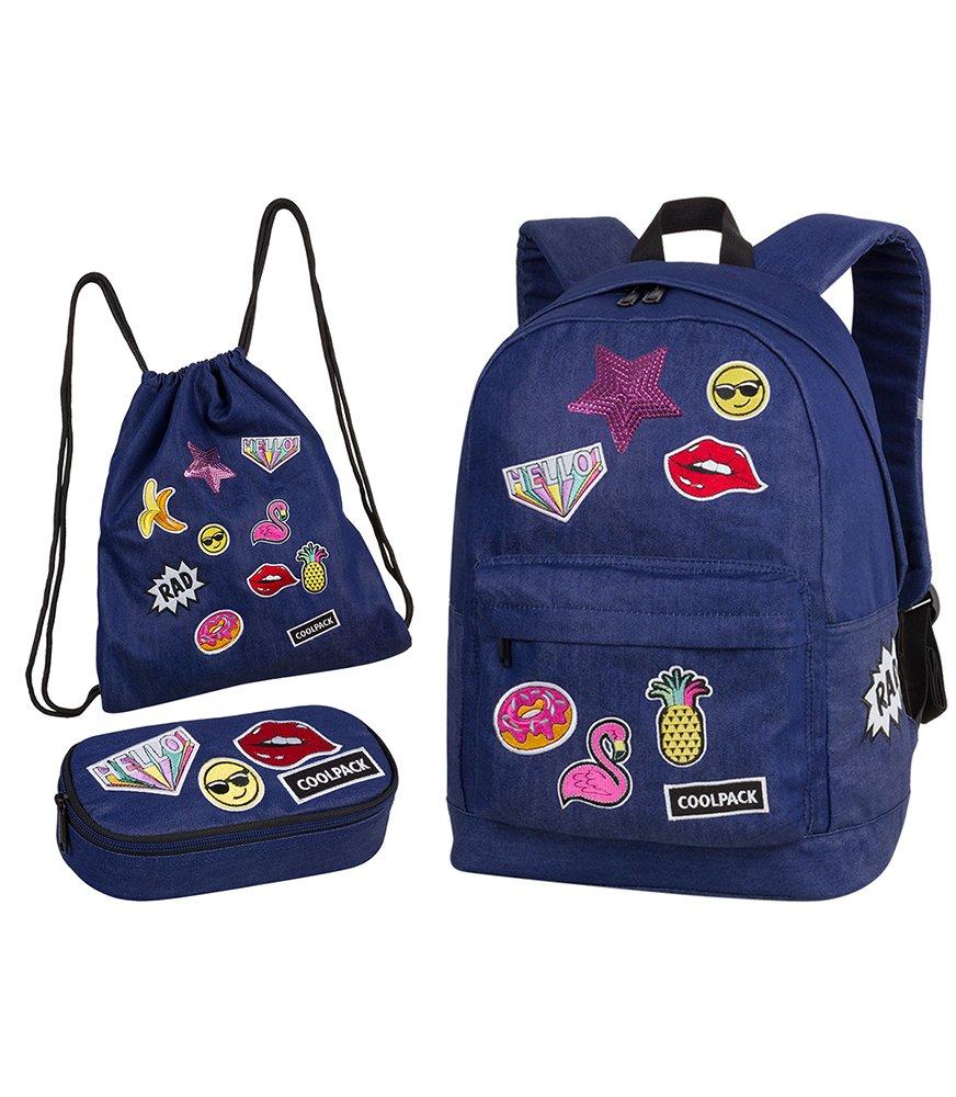 Zestaw młodzieżowy Coolpack 2018 Badges Girls Denim - plecak Cross, piórnik  Campus i worek Sprint