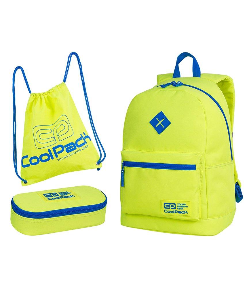 db24c3e006313 Zestaw szkolny Coolpack 2018 Neon Yellow - plecak Cross, piórnik ...
