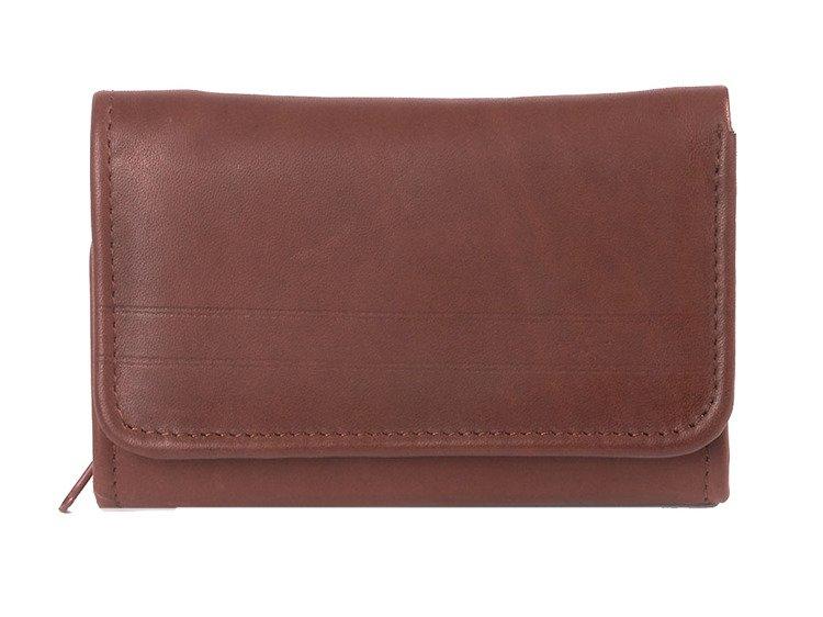 d631e9ecd9c77 Duży klasyczny portfel skórzany damski Money Maker Brązowy Kliknij, aby  powiększyć ...
