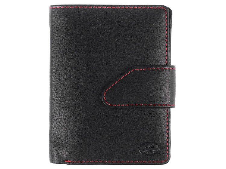 89117389a5883 Klasyczny skórzany portfel damski Old River 8095 Czarno-czerwony Kliknij,  aby powiększyć ...