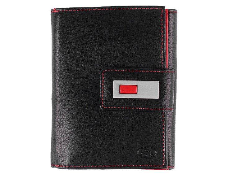 340bf9481bd0b Markowy skórzany portfel damski Old River 3062 Czarno-czerwony Kliknij