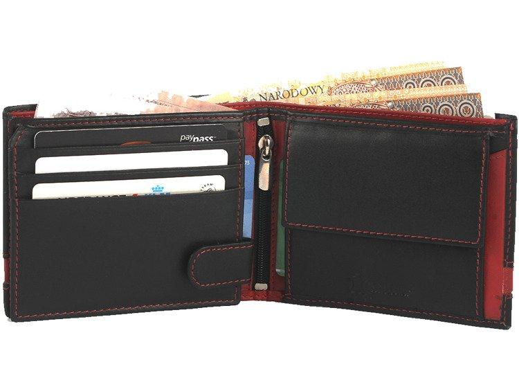6b1d1cb500c6b Niepowtarzalny portfel męski skórzany Czarno-czerwony - Portfele ...