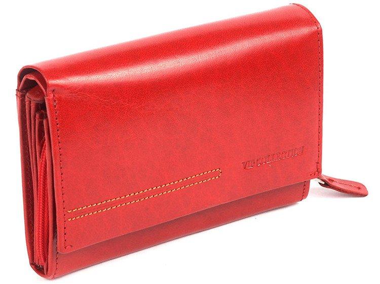 17529bb27289f Portfel skórzany damski poziomy średni VIP Collection czerwony Kliknij, aby  powiększyć ...