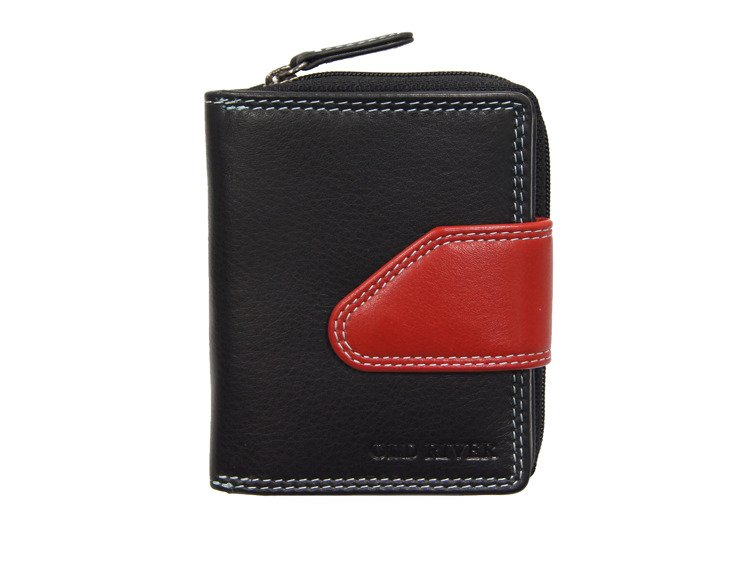 5c4a0507b1874 Skórzany portfel damski mały Old River AK-81 Czarno-czerwony Kliknij