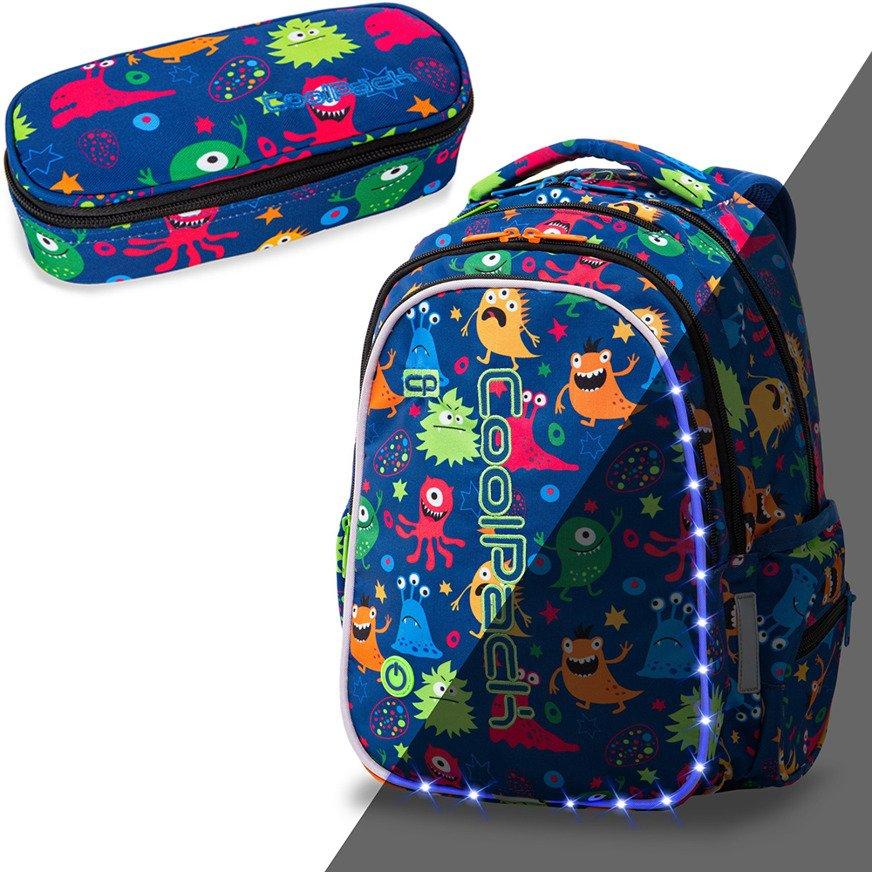 Zestaw Coolpack Funny Monsters LED plecak Joy M i piórnik Campus